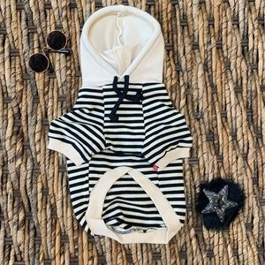 Dog Cat Clothes French Beige and Black Sweater